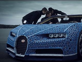 Életnagyságú Bugattit épített a Lego, furikázni is lehet vele (videó)