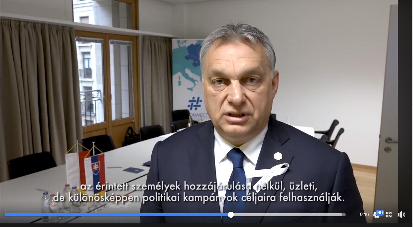 Orbán Viktor videóüzenete Brüsszelből a Facebook-botrányról