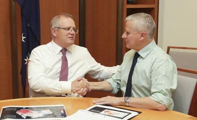 Scott Morrison ausztrál miniszterelnök és helyettese, Michael McCormack.