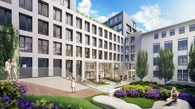 A CPI Hungary új épületszárnya, a Balance Hall kertjének látványterve