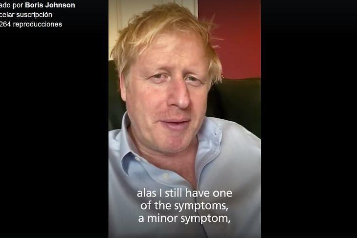 Boris Johnson házi karanténban 2020. április 3-án. (Fotó: Facebook printscreen)