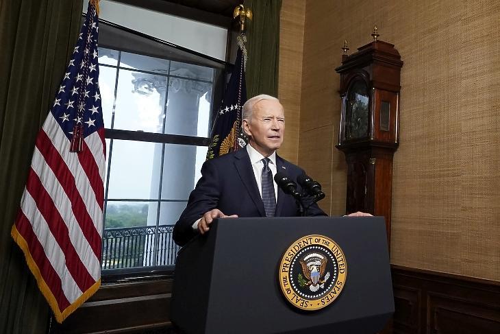 Joe Biden amerikai elnök bejelenti az amerikai csapatok kivonását Afganisztánból 2021. április 14-én. Fotó: EPA/Andrew Harnik