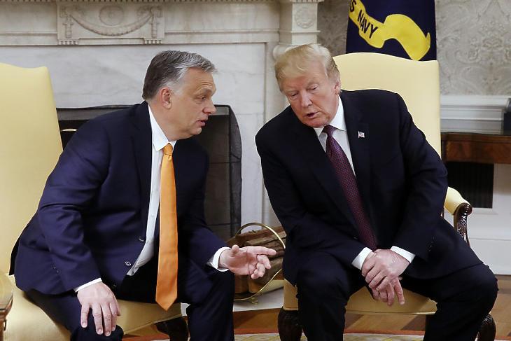 Orbán Viktor és Donald Trump a Fehér házban. (Fotó: MTI/Koszticsák Szilárd)