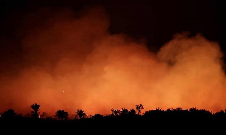 Lángol az amazonasi őserdő a brazíliai Humaita közelében. (Fotó: Reuters/Ueslei Marcelino)