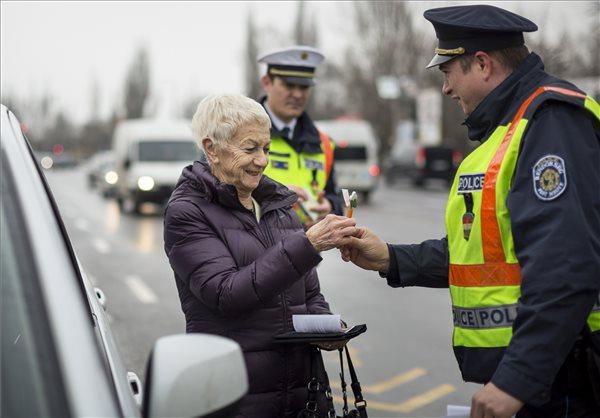 Random gépjárművezető hölgy köszöntése Szentendrén. (MTI Fotó: Mohai Balázs)